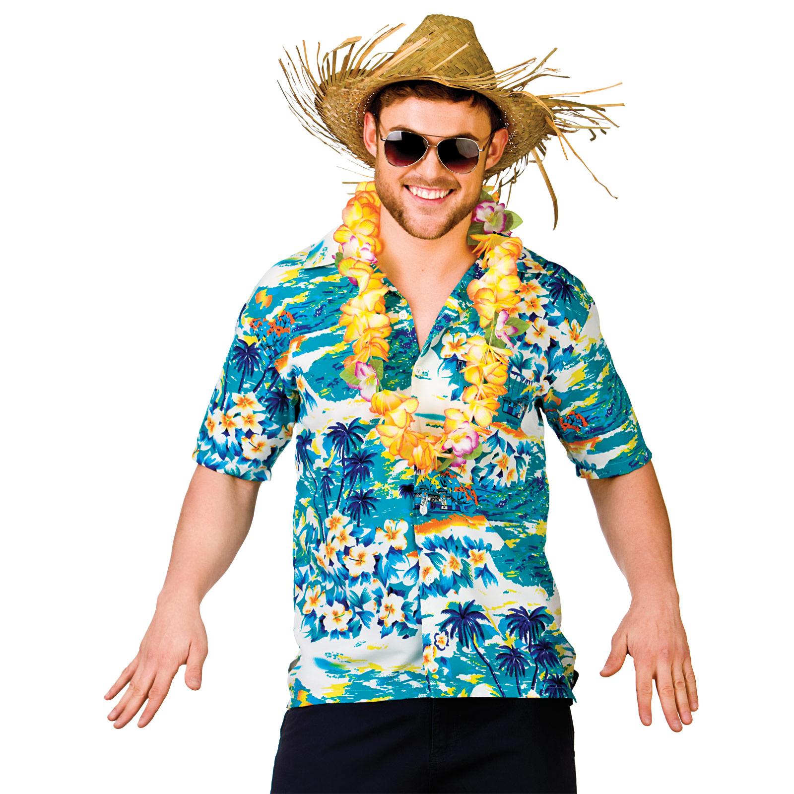 Multi coloured floral palm tree hawaiian shirt luau for Hawaiian shirt fancy dress