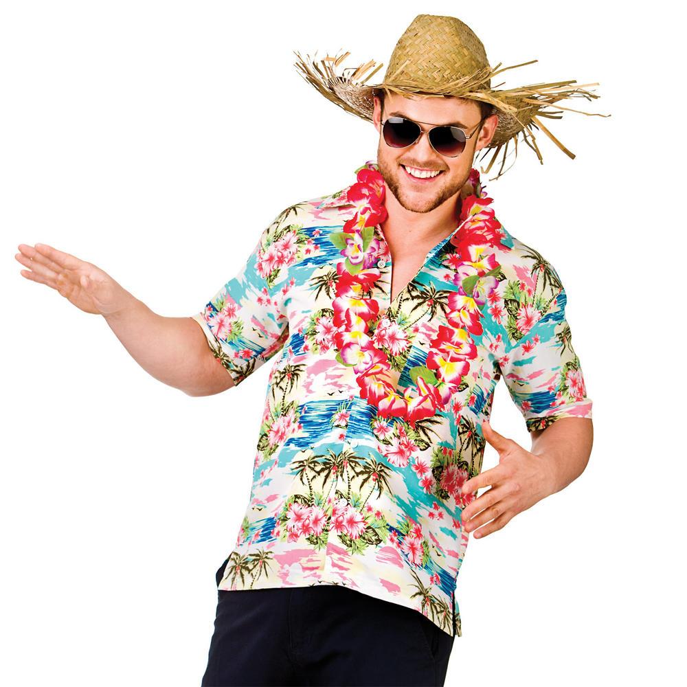 Mens pink flower palm tree hawaiian luau fancy dress for Hawaiian shirt fancy dress