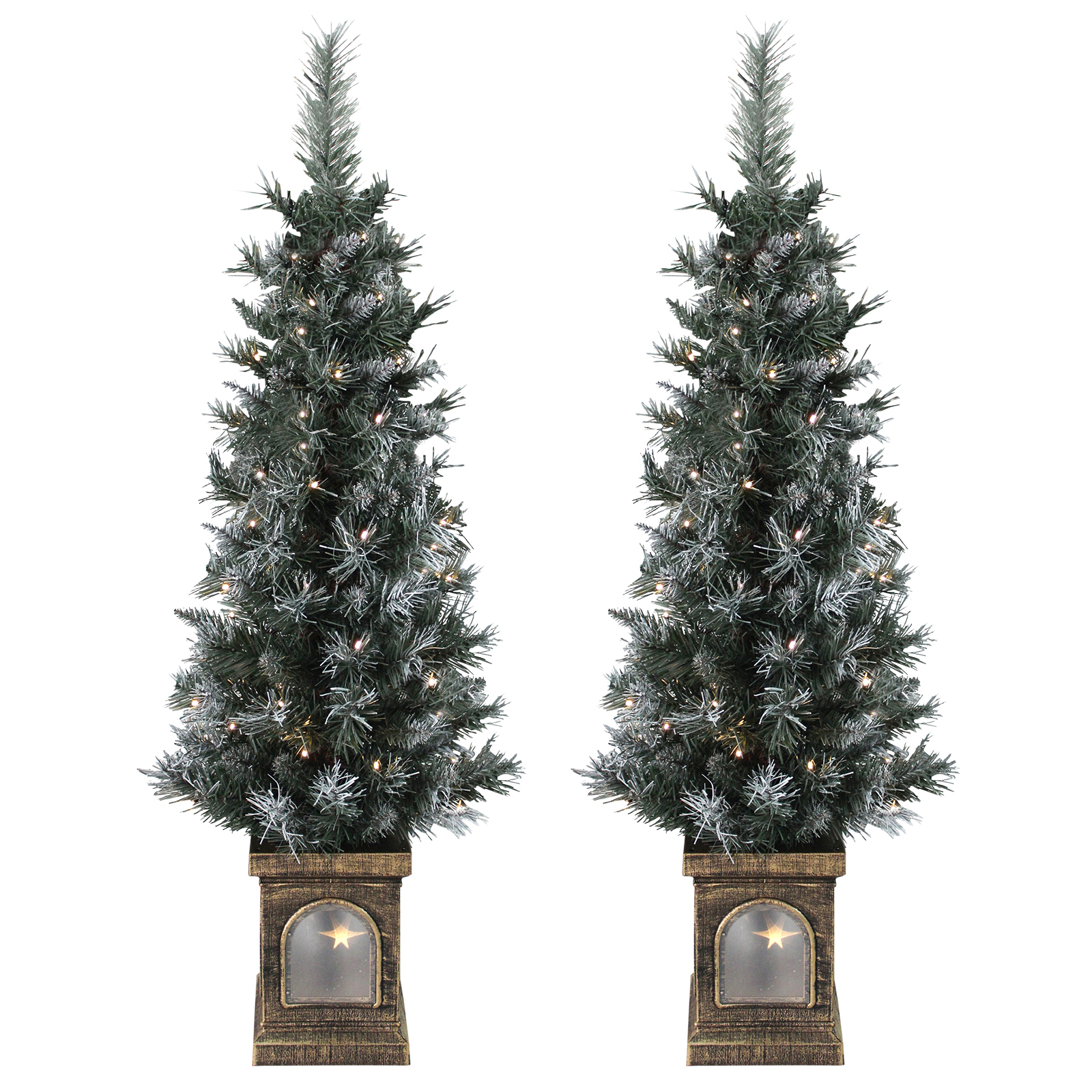 Small Christmas Trees Uk: Set Of 2 Pre-Lit 4ft (120cm) Frosted Christmas Xmas
