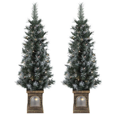 Set Of 2 Pre-Lit 4ft (120cm) Frosted Christmas Garden Pathway Trees