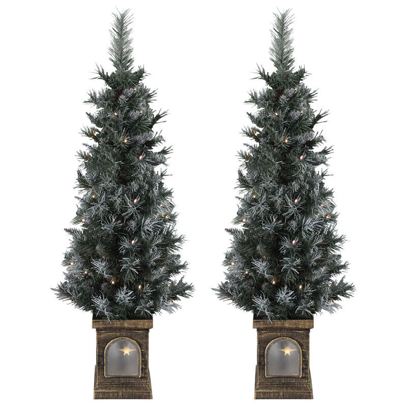 Pre Dressed Christmas Trees: Battery Operated Set Of 2 Pre-Lit 4ft (120cm) Frosted Xmas