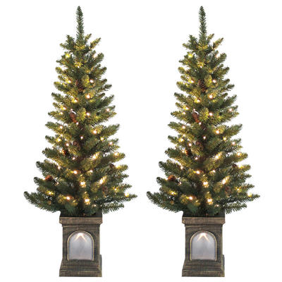 Set Of 2 Pre-Lit 4ft (120cm) Green Pine Cone Christmas Pathway Trees