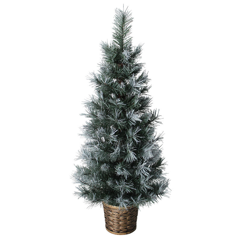 3ft (90cm) Artificial Dark Green Frosted Potted Christmas ...