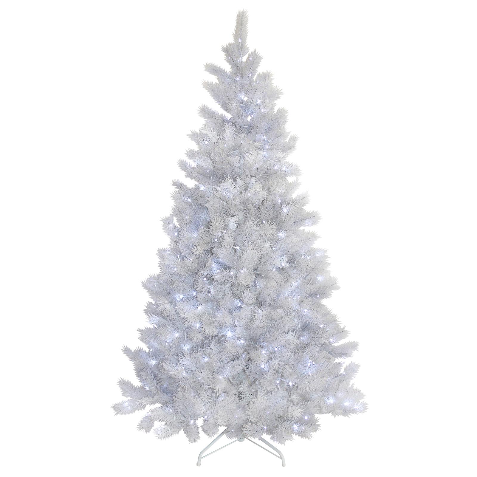 White Christmas Tre: 5ft 6ft 7ft White Glitter Pine Artificial Pre-Lit LED