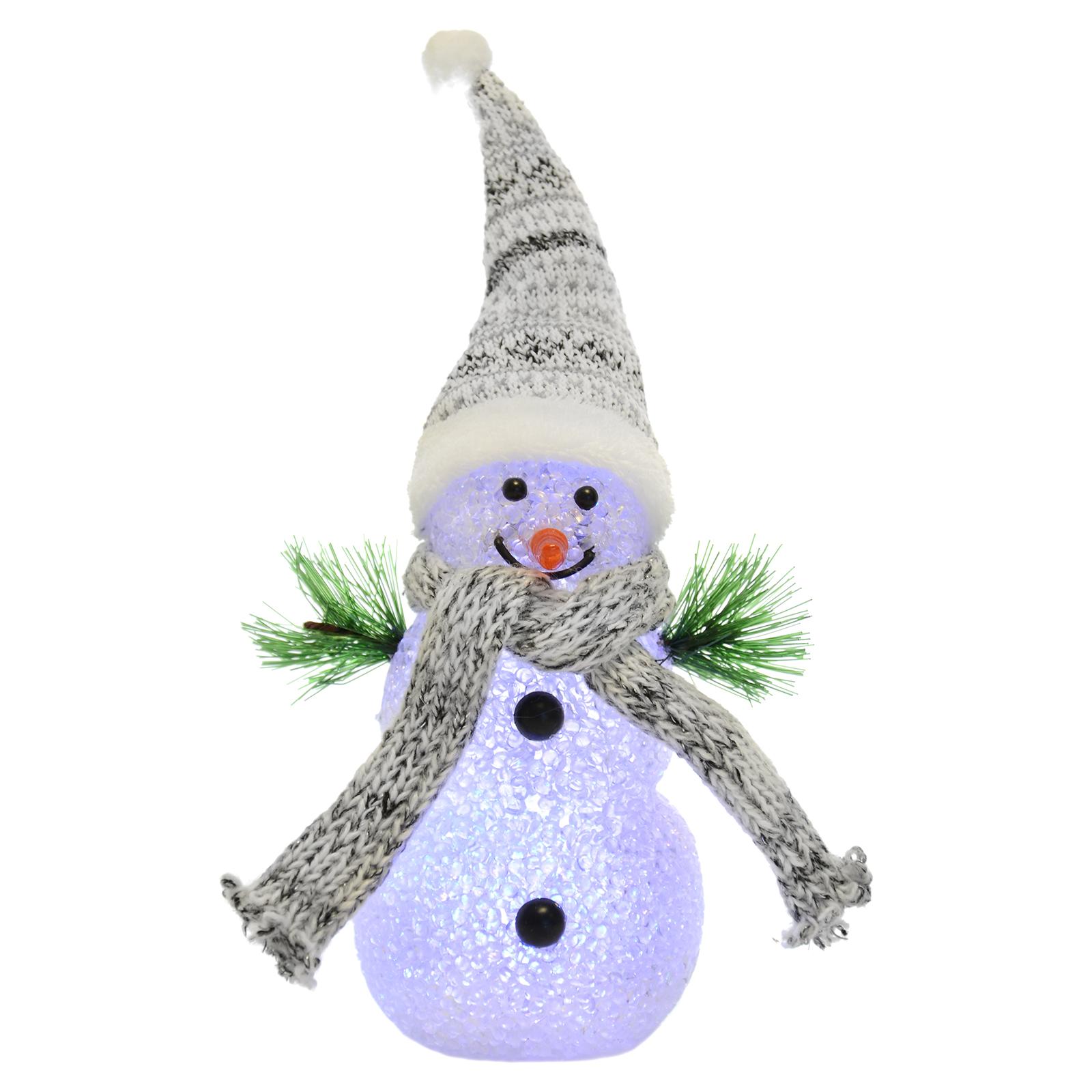 18cm light up snowman colour changing multi led christmas for Snowman decorations