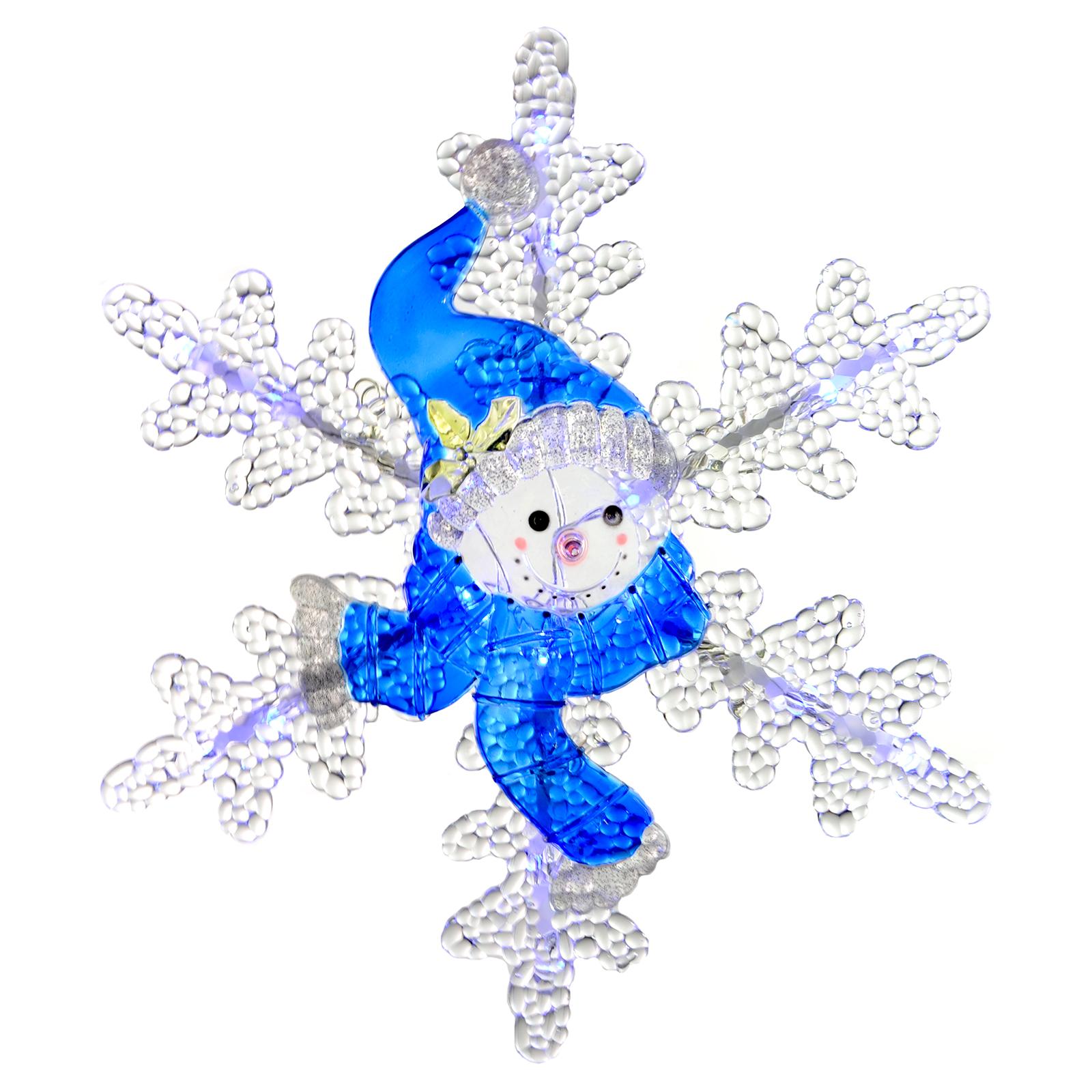 30cm Light Up LED Acrylic Snowman Snowflake Indoor