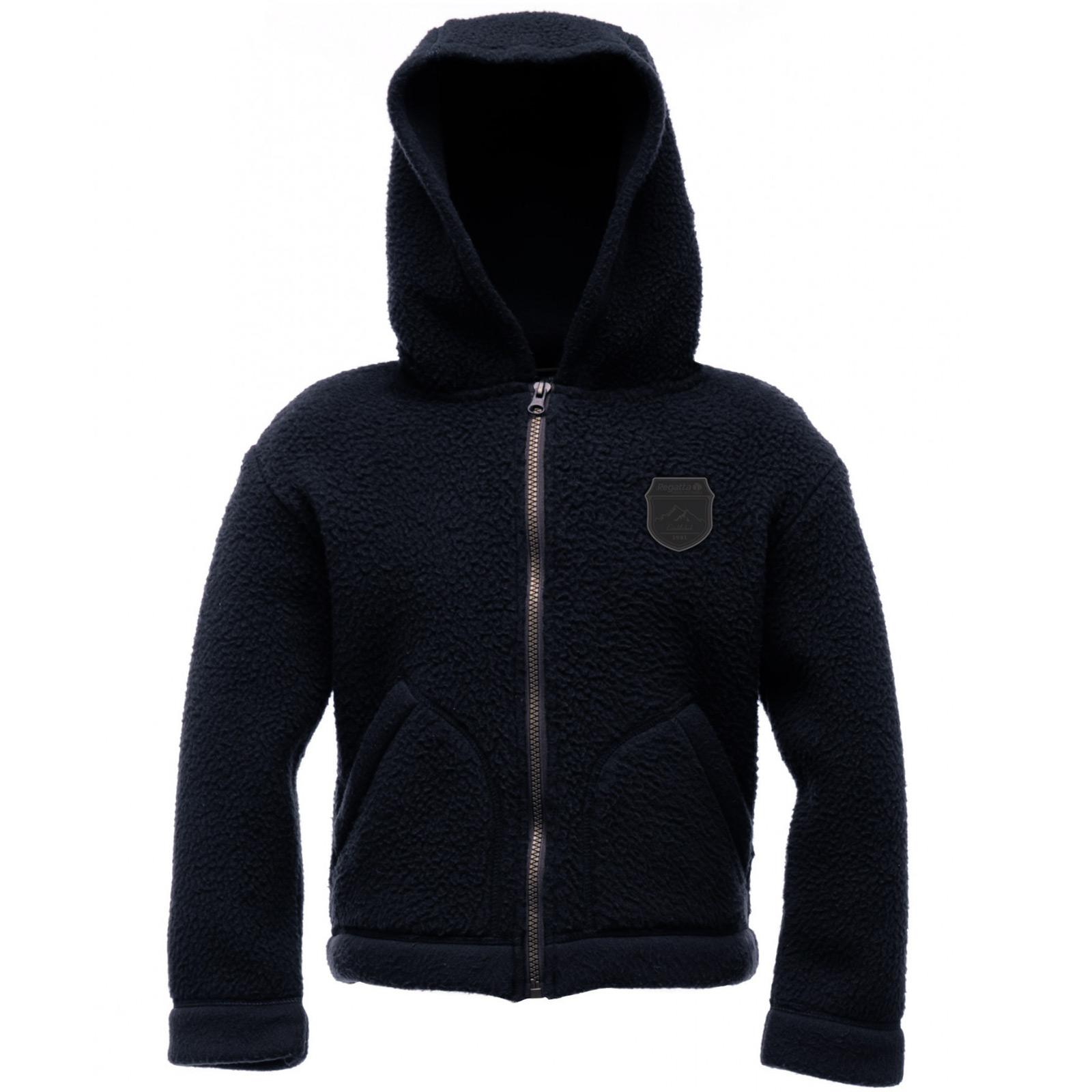 Regatta Childrens Roofus Black Hooded Chunky Fleece Jacket Zip Top