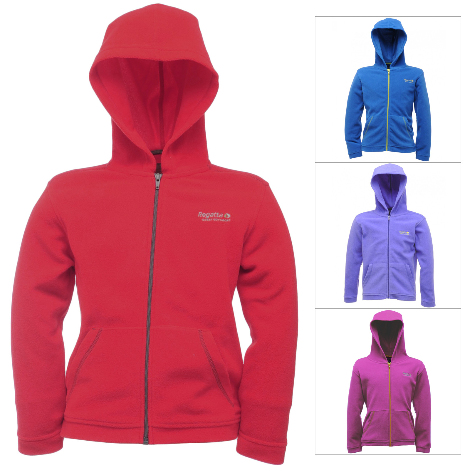 Regatta Childrens Chad Fleece Hooded Jacket Zip Up Top Outdoor Wear Kids Hoodie