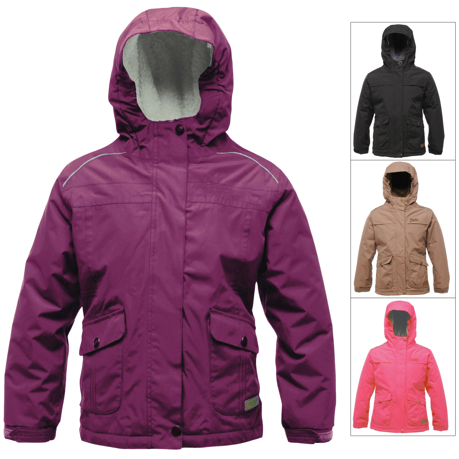 Regatta Girls Waterproof Mintaka Jacket With Fleece Lined Hood Warm Winter Coat