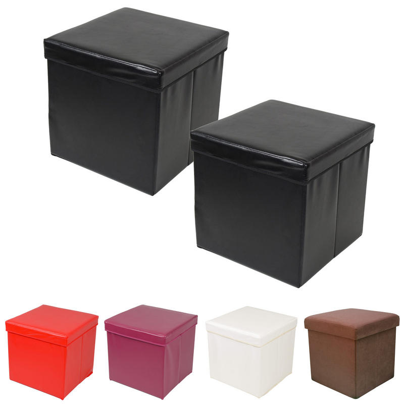 pack of 2 folding ottoman storage cubes with padded lids. Black Bedroom Furniture Sets. Home Design Ideas