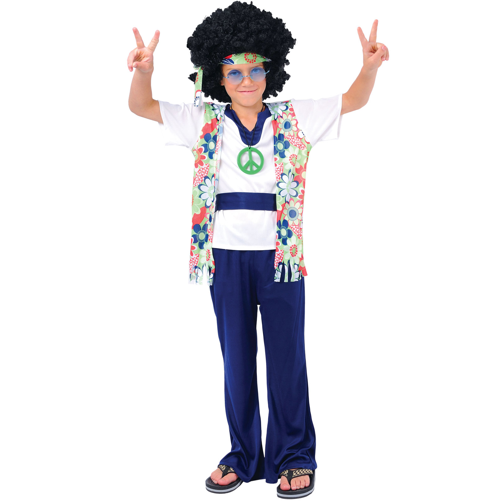 60s hippie dude boys fancy dress up party halloween costume outfit new