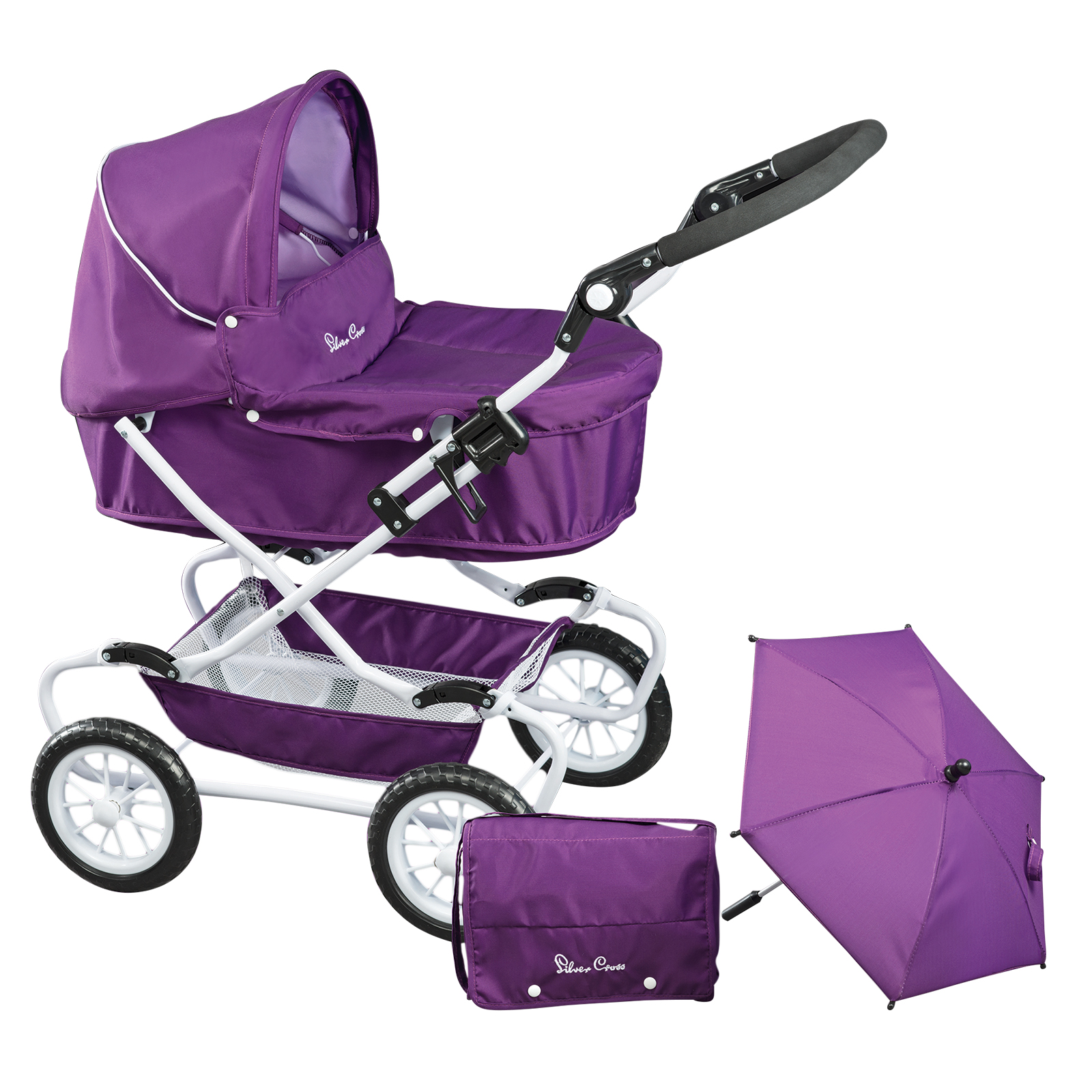 Silver Cross Classic Dolls Pram Damson Purple Girls Toy Stroller ...