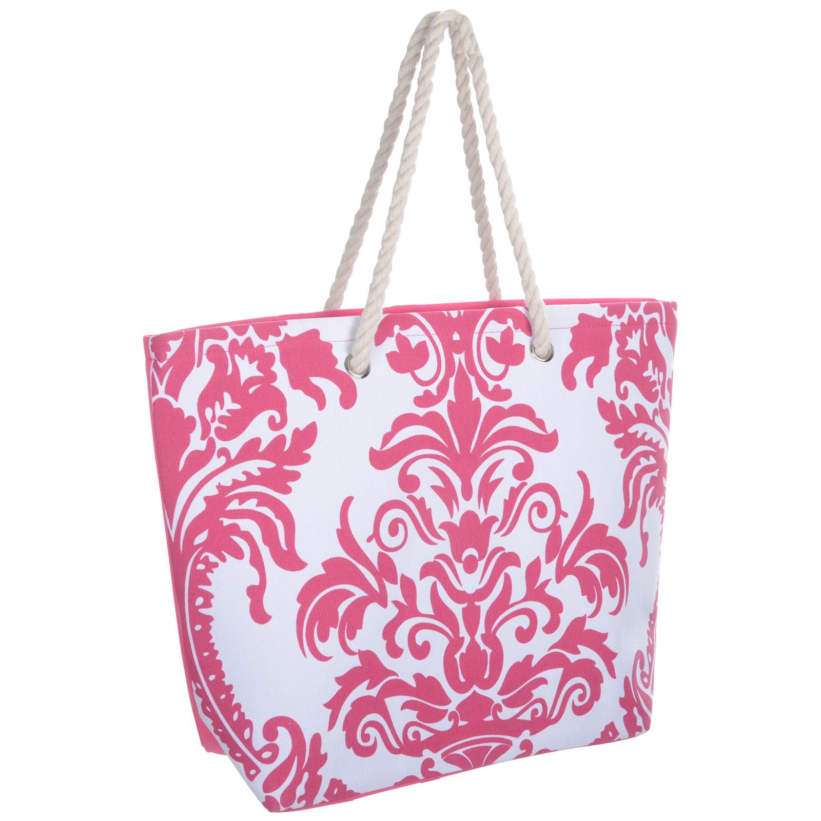 Ladies Canvas / Straw Beach Shoulder Bag Summer Holiday ...