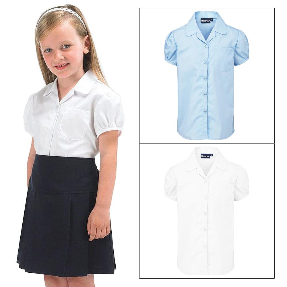 Twin pack girls cavendish blouse short puff sleeve school for Short sleeve school shirts