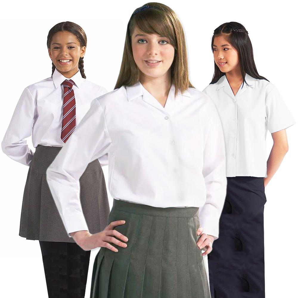 White Long Sleeve School Blouse 71