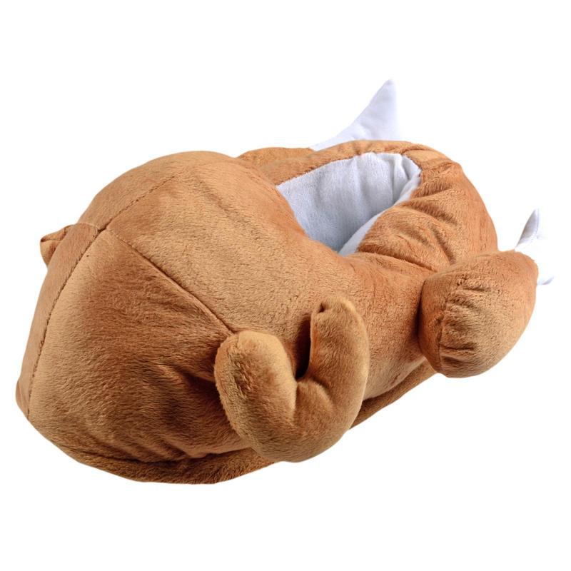 Unisex novelty christmas xmas turkey slippers with non slip soles