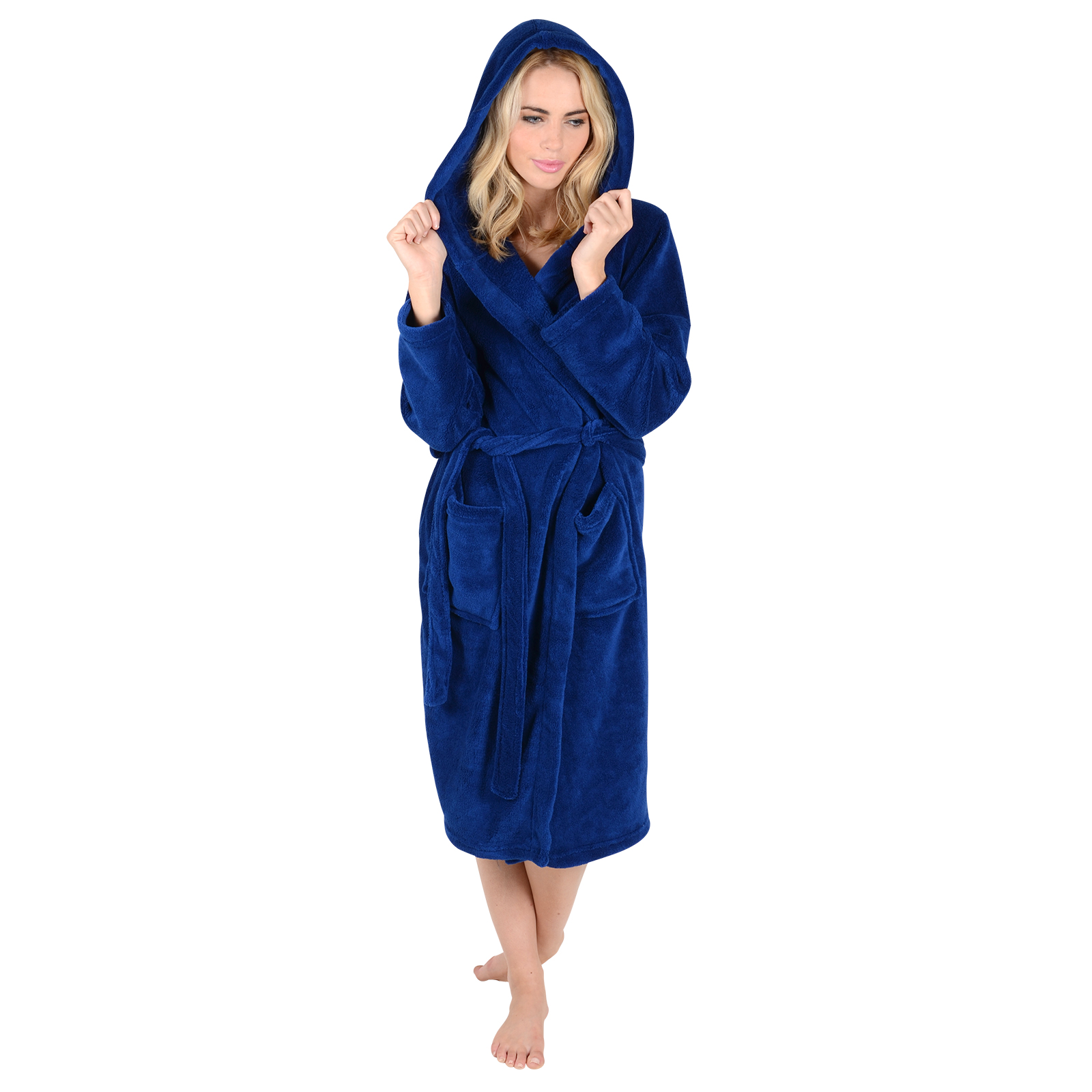 ladies coral fleece bath robe with hood dressing gown wrap. Black Bedroom Furniture Sets. Home Design Ideas