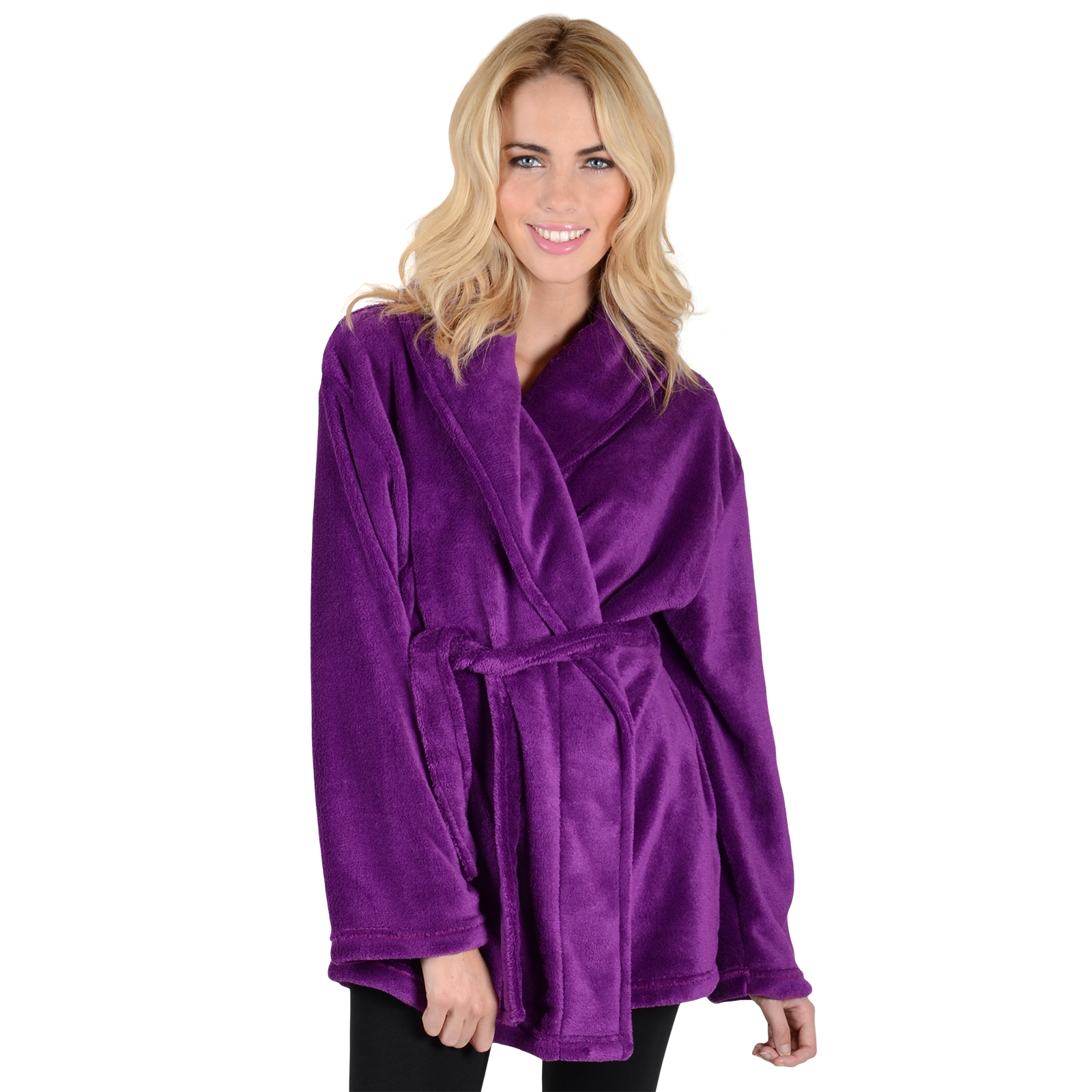 Ladies Luxury Fleece Mini Short Bath Robe Housecoat Dressing Gown Wrap Bathrobe