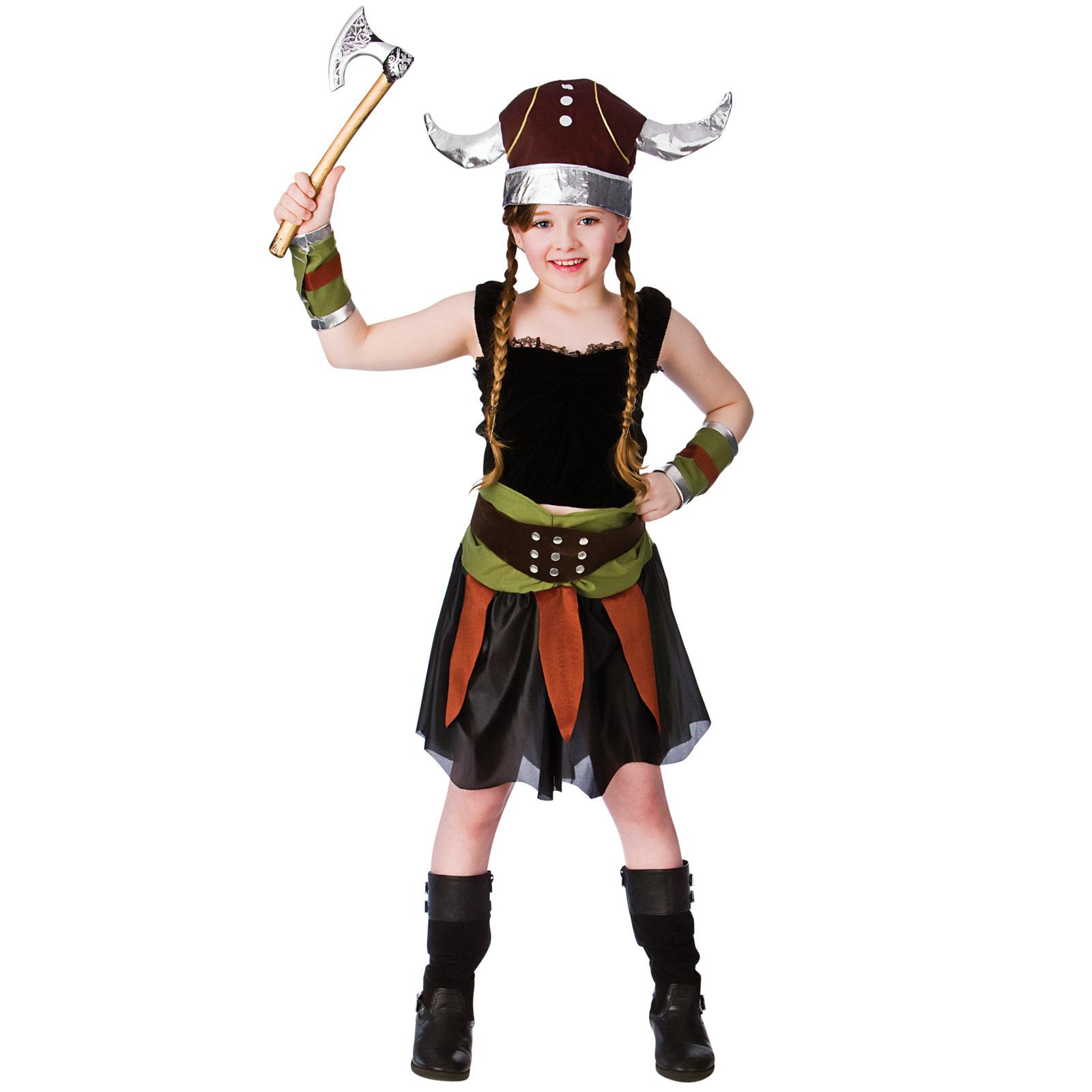 Kids Viking Girl Warrior Historical Fancy Dress Up Halloween Party ...
