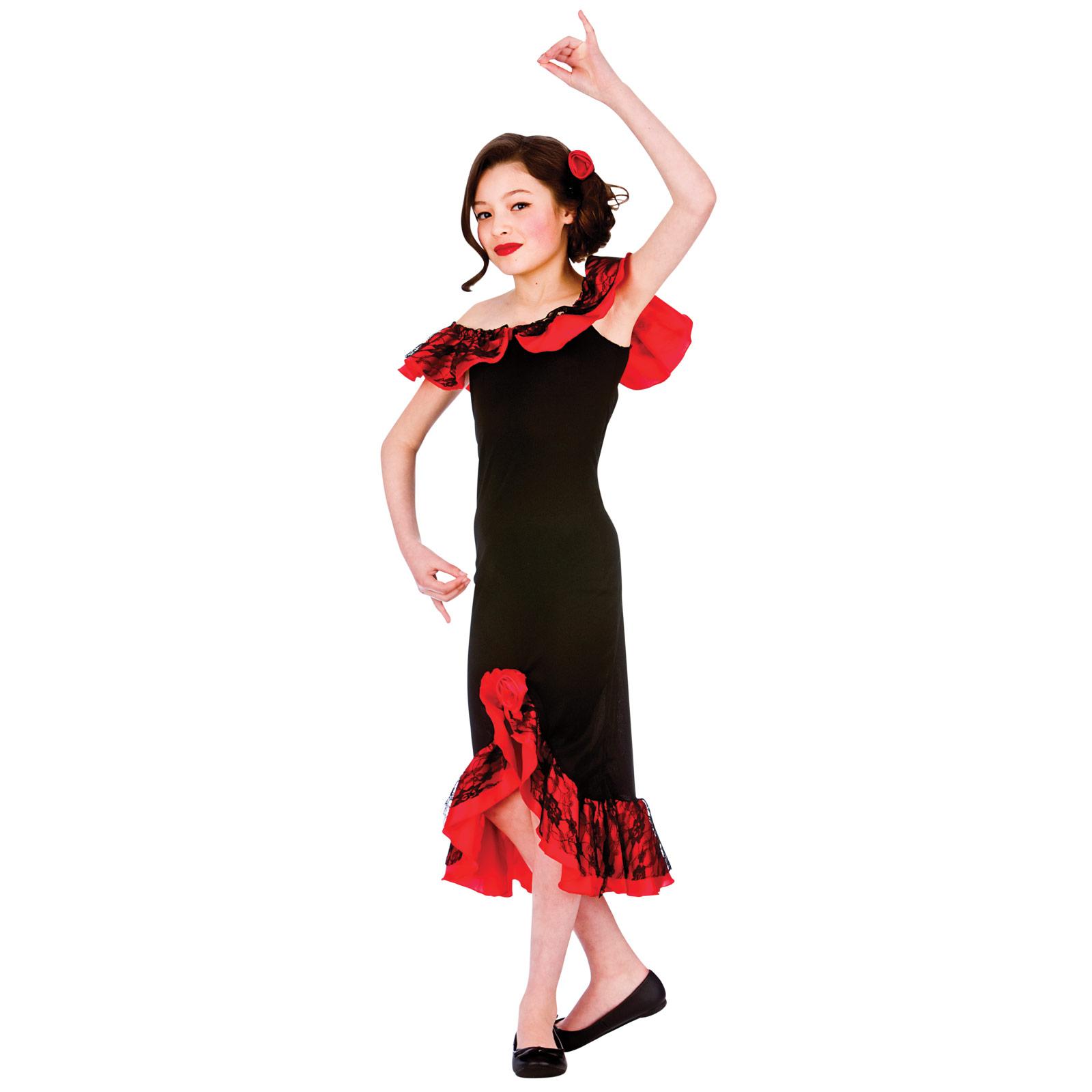 girls black amp red spanish senorita dancer fancy dress up