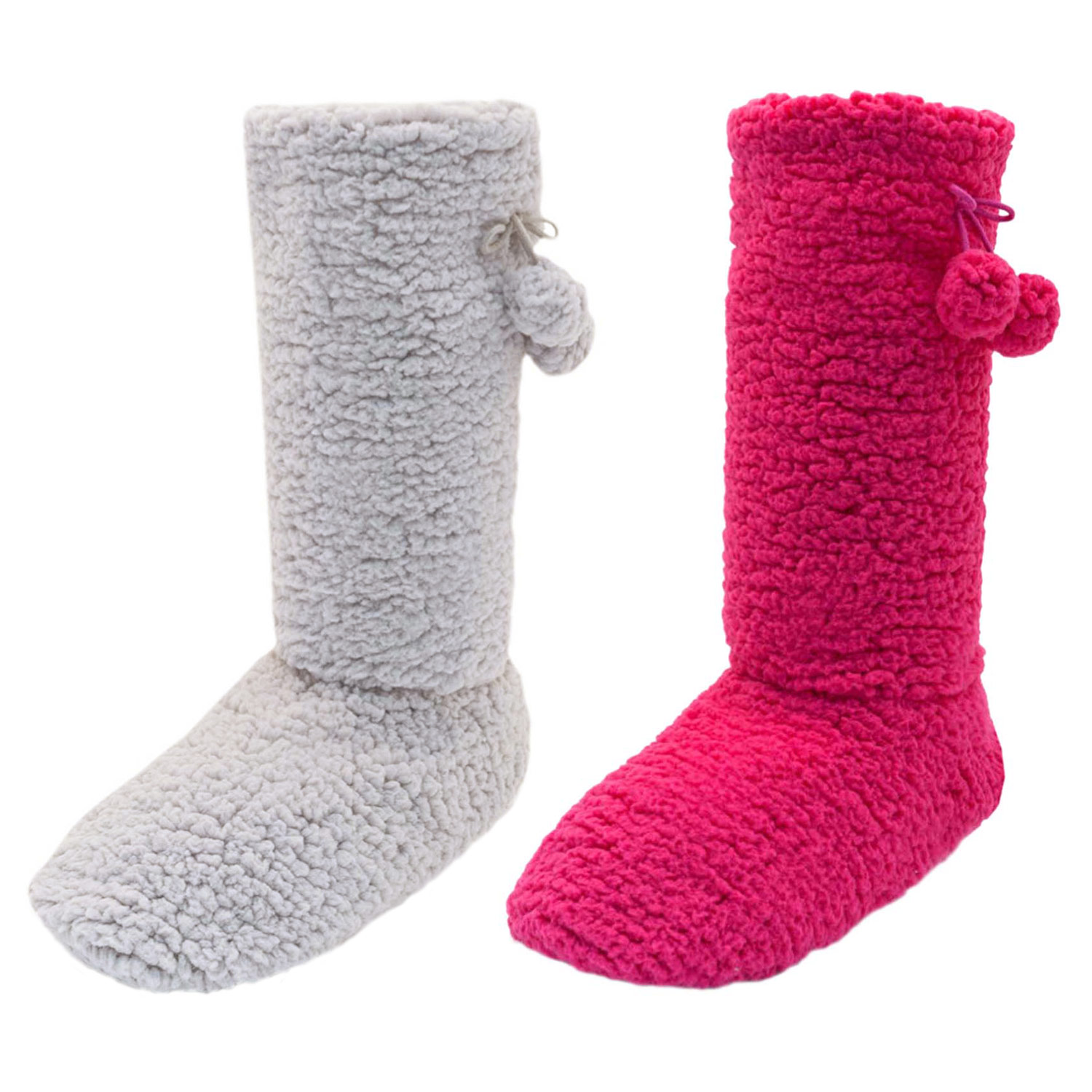 Ladies Long Fleece Bootie Slipper Socks With Pom Poms And Non Slip Soles New | EBay