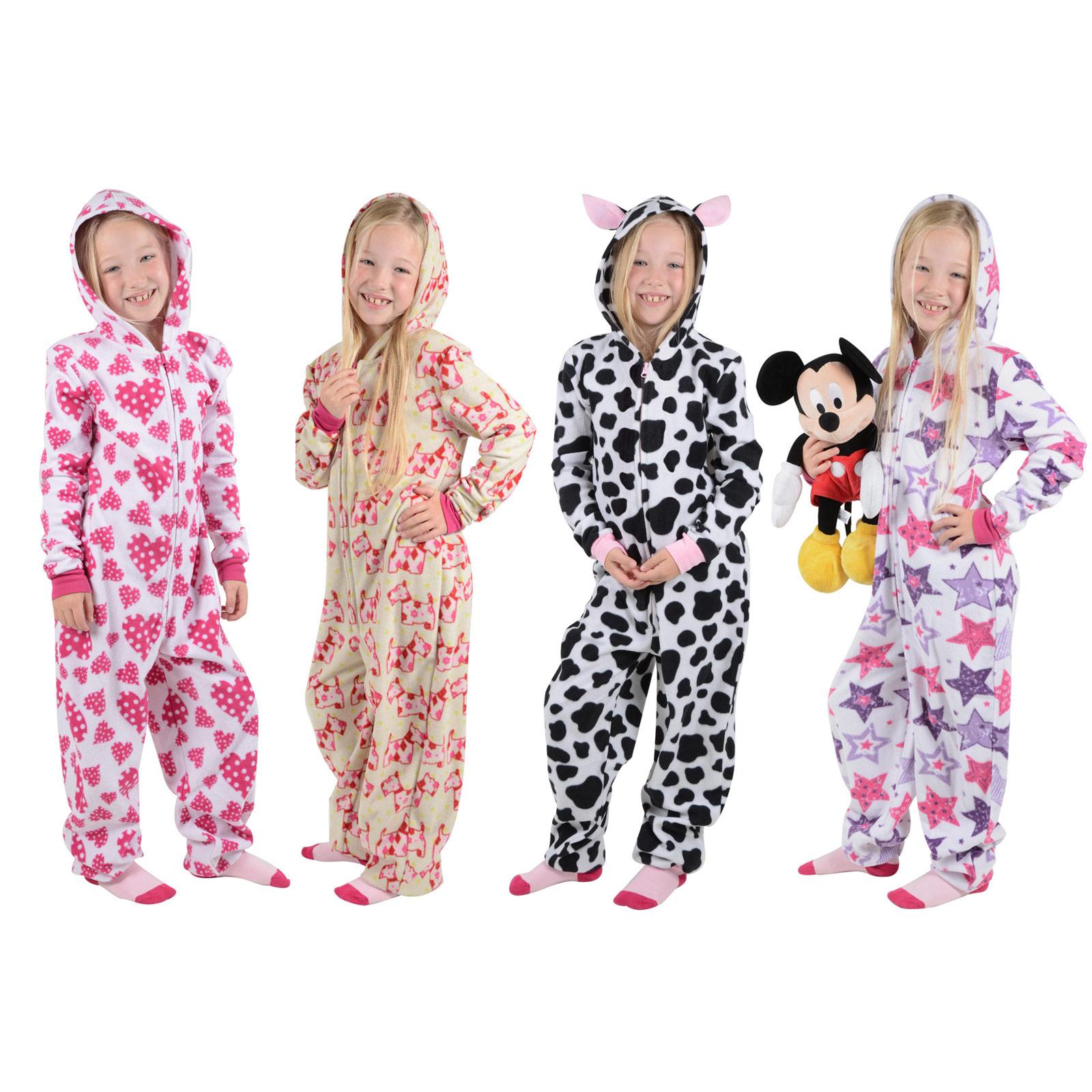 girls cosy fleece onesie all in one pyjamas sleepsuit pjs