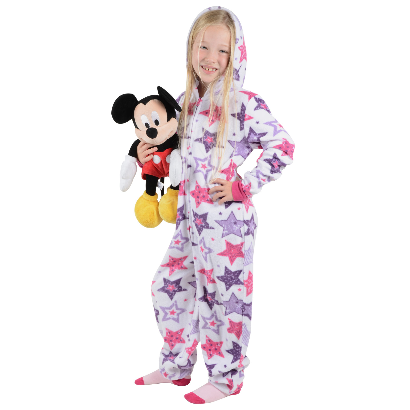 Girls Cosy Fleece Onesie All In One Pyjamas Sleepsuit PJs Kids ...