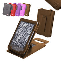 View Item Brown Leather Case With Kick Stand For New Amazon Kindle 4 (Latest Generation)