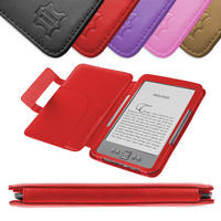View Item Red Leather Book Case For New Amazon Kindle 4 (Latest Generation)