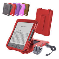 View Item Red Leather Case w/ Stand For Newest Generation Amazon Kindle 4 w/ Mains Charger