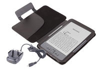 View Item Black Leather Book Case For Newest Generation Amazon Kindle 4 w/ Mains Charger