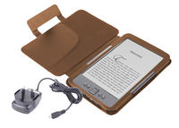 View Item Brown Leather Book Case For Newest Generation Amazon Kindle 4 w/ Mains Charger