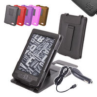 View Item Black Leather Case w/ Stand For Amazon Kindle (New Generation) 4 w/ Car Charger
