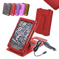 View Item Red Leather Case w/ Stand For New Generation Amazon Kindle 4 w/ 12v Car Charger