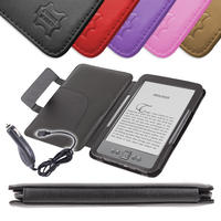 View Item Black Leather Book Case For Newest Generation Amazon Kindle 4 w/ 12v Car Charger