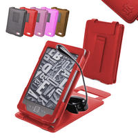 View Item Red Leather Case w/ Stand For New Generation Amazon Kindle 4 w/ Clip-On Light
