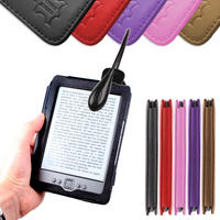View Item Black Leather Book Case For New Generation Amazon Kindle 4 w/ Clip-On LED Light