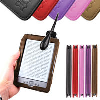View Item Brown Leather Book Case For New Generation Amazon Kindle 4 w/ Clip-On LED Light