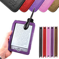 View Item Purple Leather Book Case For New Generation Amazon Kindle 4 w/ Clip-On LED Light