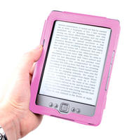 View Item Pink Leather Book Case For Newest Generation Amazon Kindle 4 With Mains Charger