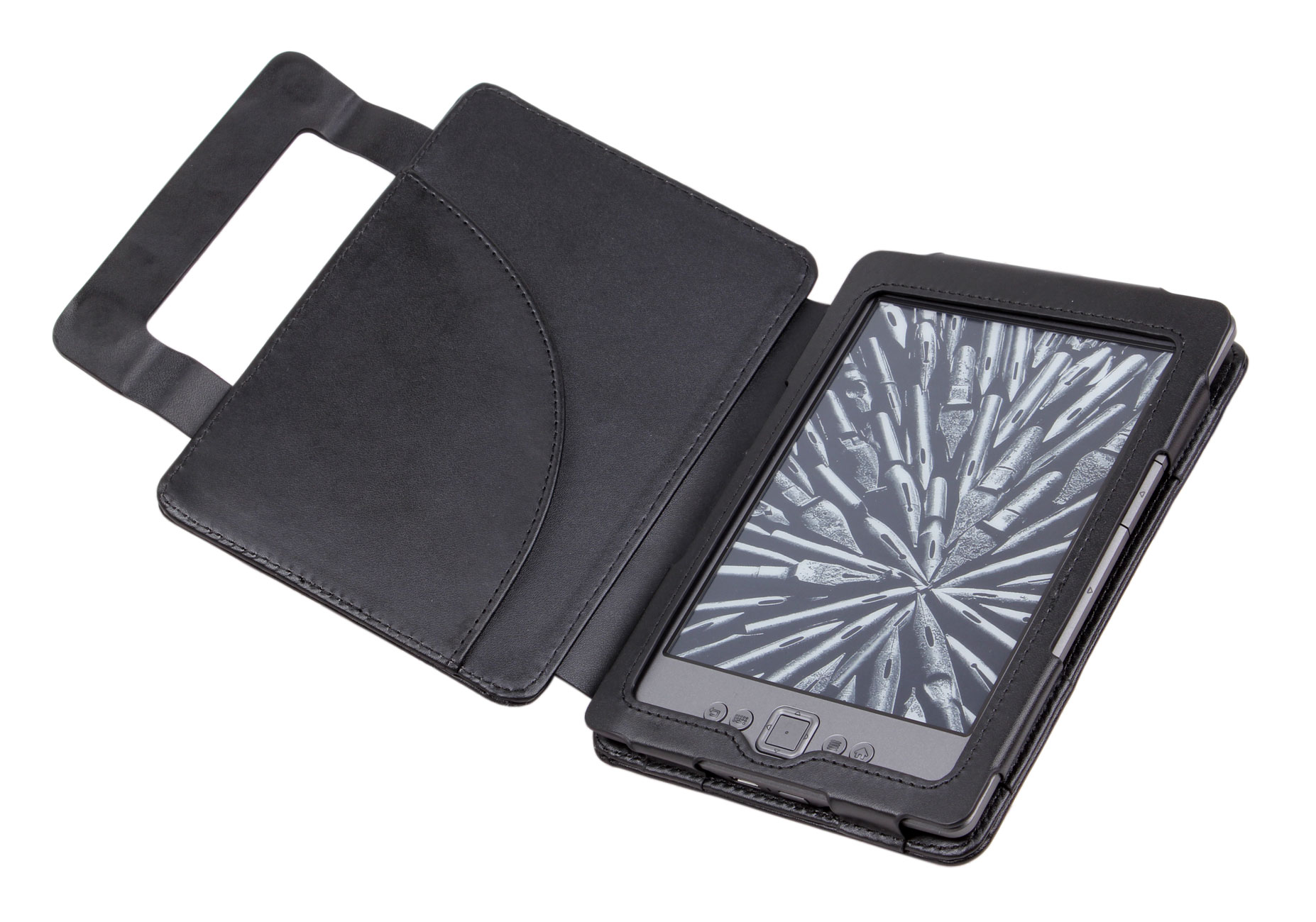 Book Cover Black Jacket : New black genuine leather amazon kindle ereader book