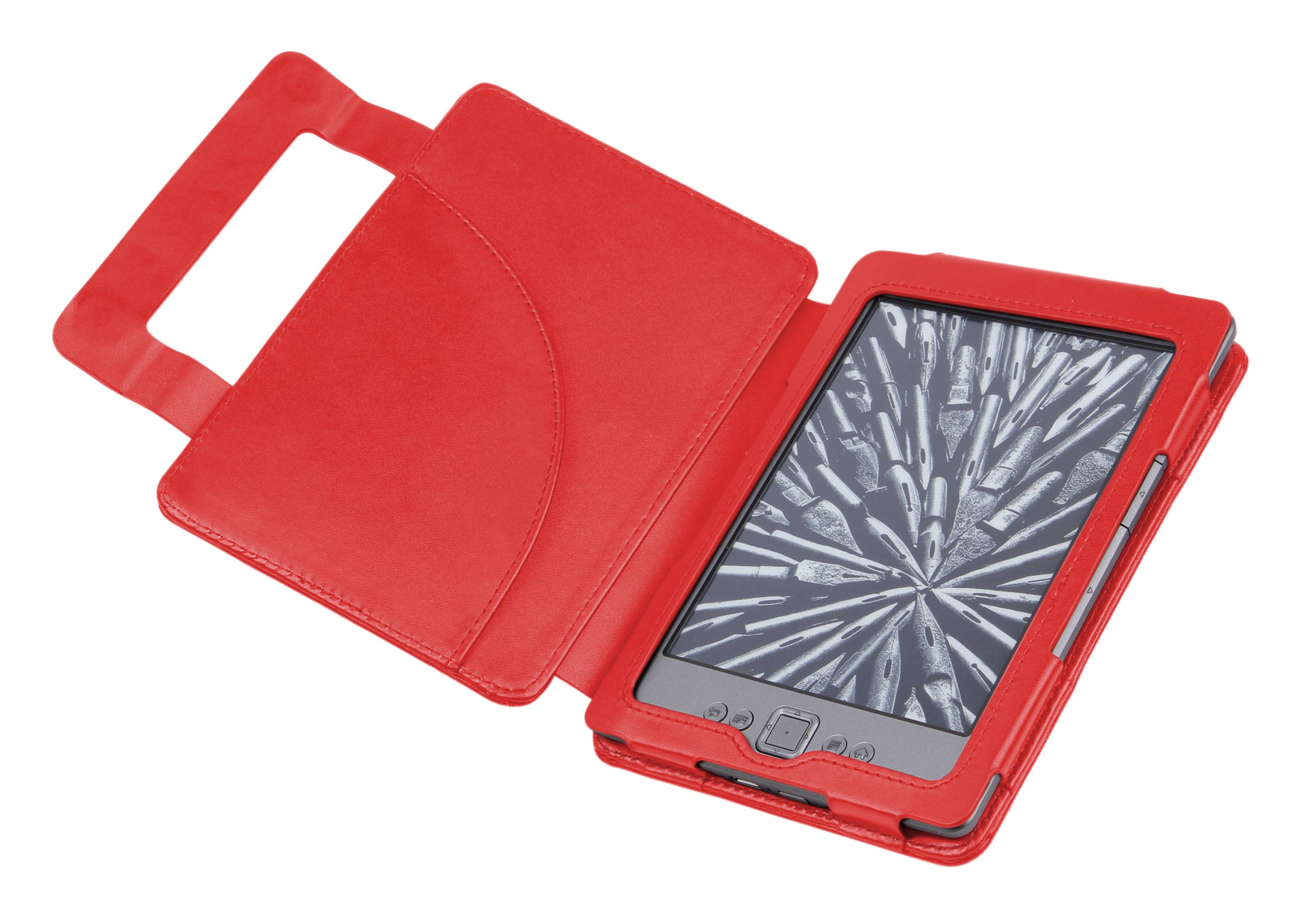 New Red Genuine Leather Amazon Kindle 4 eReader Book Cover Jacket Case Pouch Enlarged Preview