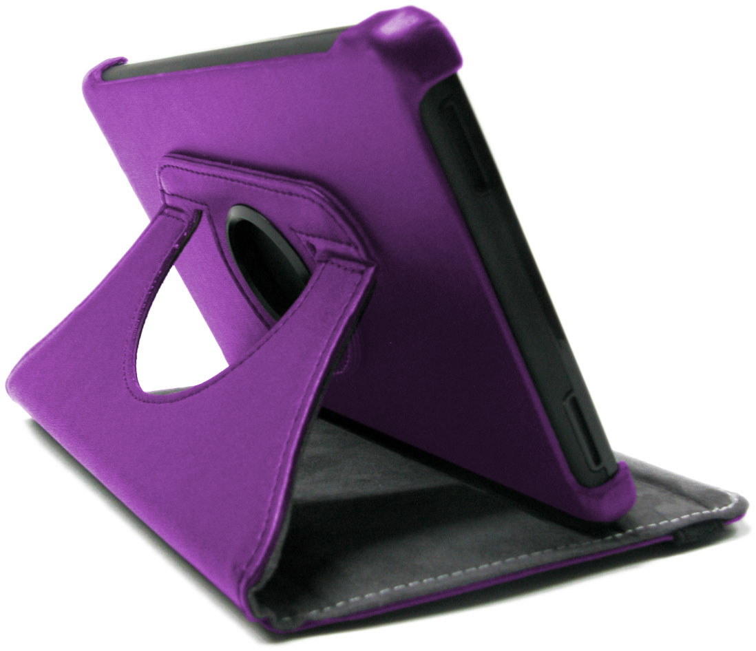 Purple Rotating Genuine Leather Amazon Kindle Fire Stand