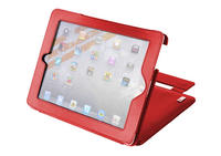 View Item Red Leather Flip Stand Case For New Apple 3rd Gen iPad 3 &amp; w/ Screen Protector