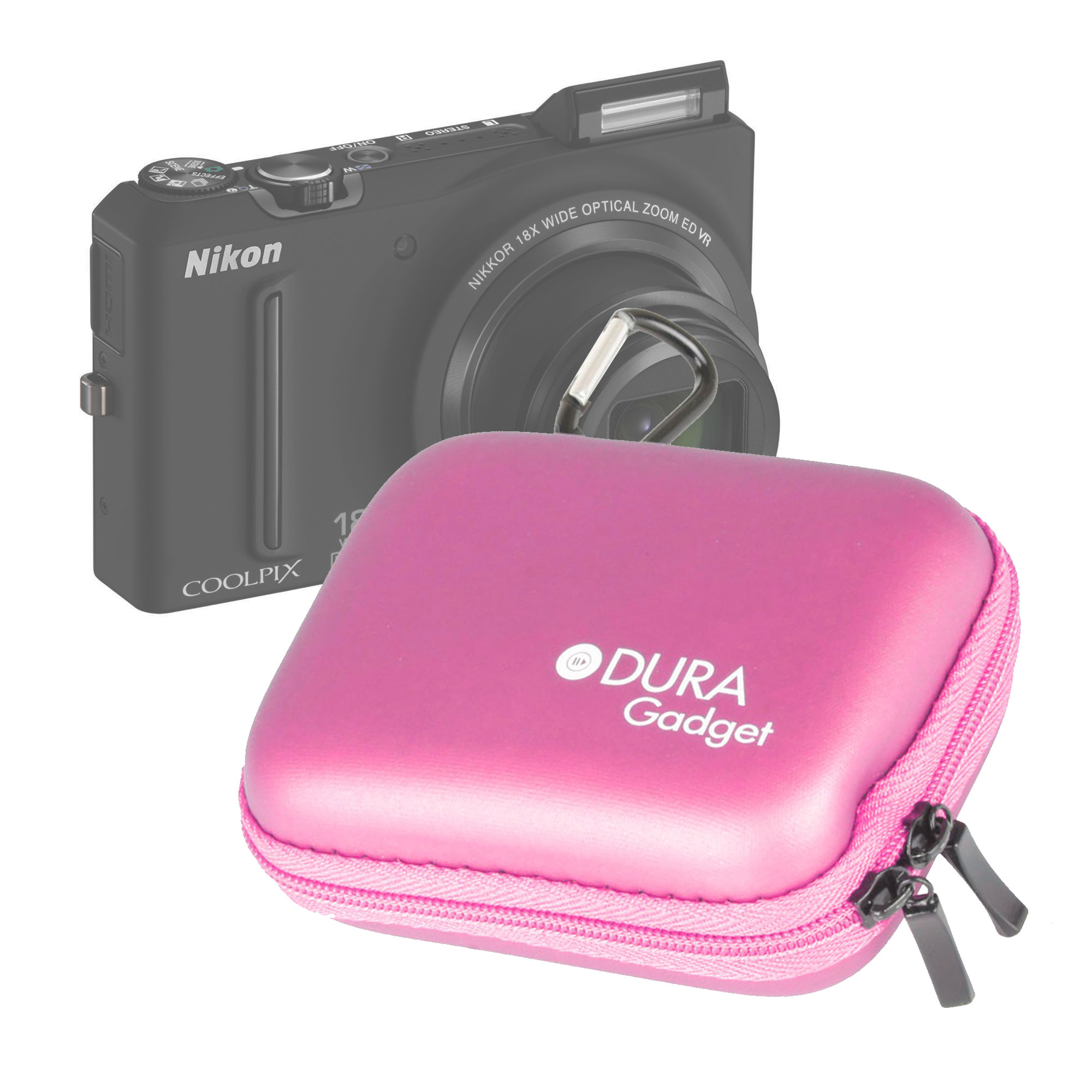 Pink Hard Digital/Compact Camera Case/Pouch & Carabiner Fits Nikon CoolPix S9100 Preview