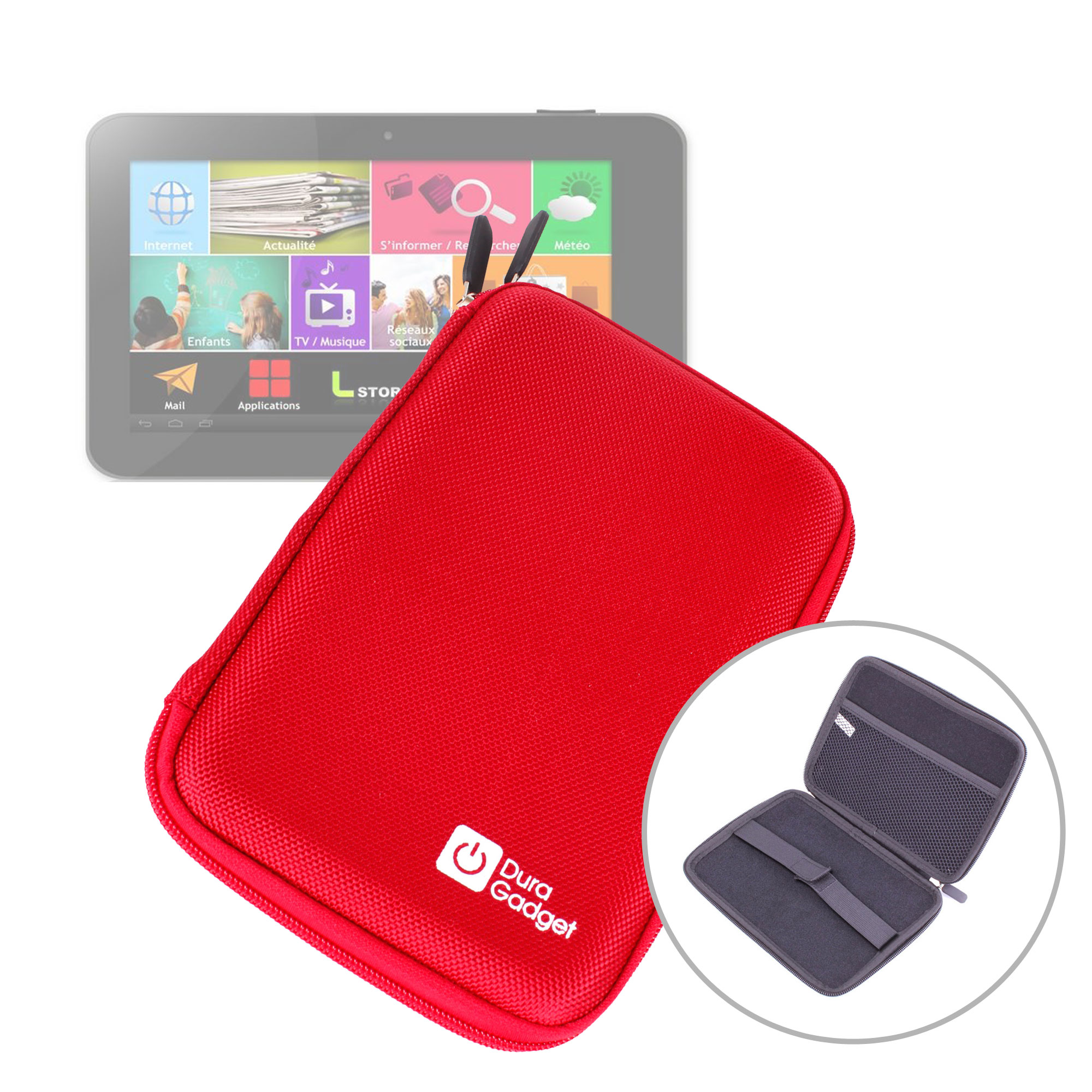 etui coque rouge rigide de protection pour tablette logicom tablife 70 7 pouces ebay. Black Bedroom Furniture Sets. Home Design Ideas