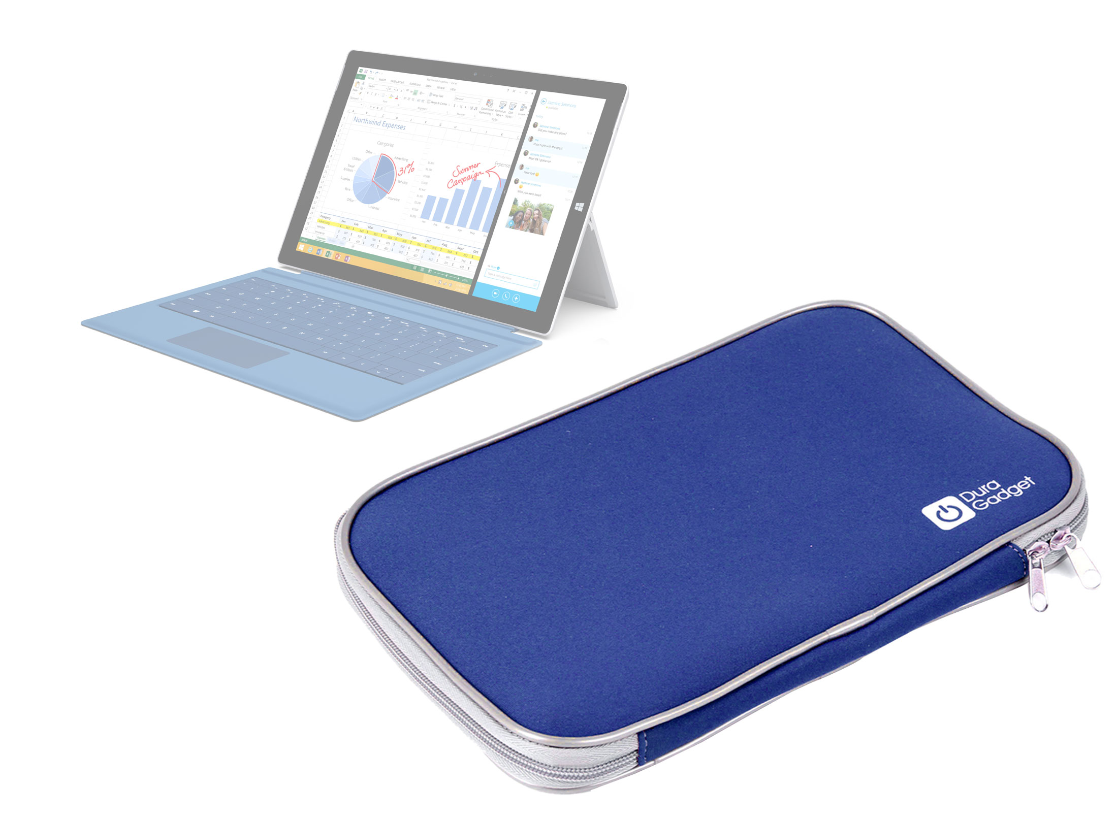 housse tui bleu pour tablette ordinateur microsoft