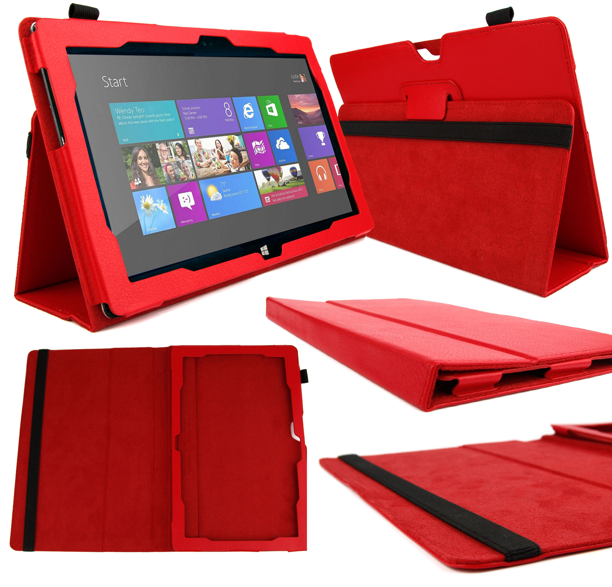 etui rouge pour microsoft surface 2 windows rt 8 1. Black Bedroom Furniture Sets. Home Design Ideas
