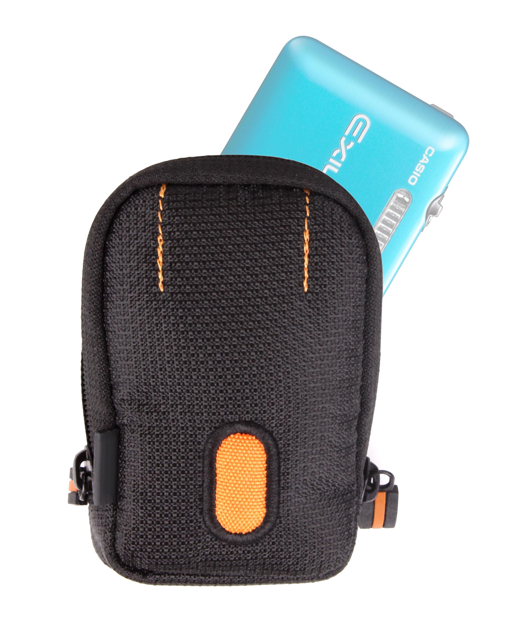Petite housse tui noir orange pour nikon coolpix s02 for Housse appareil photo compact