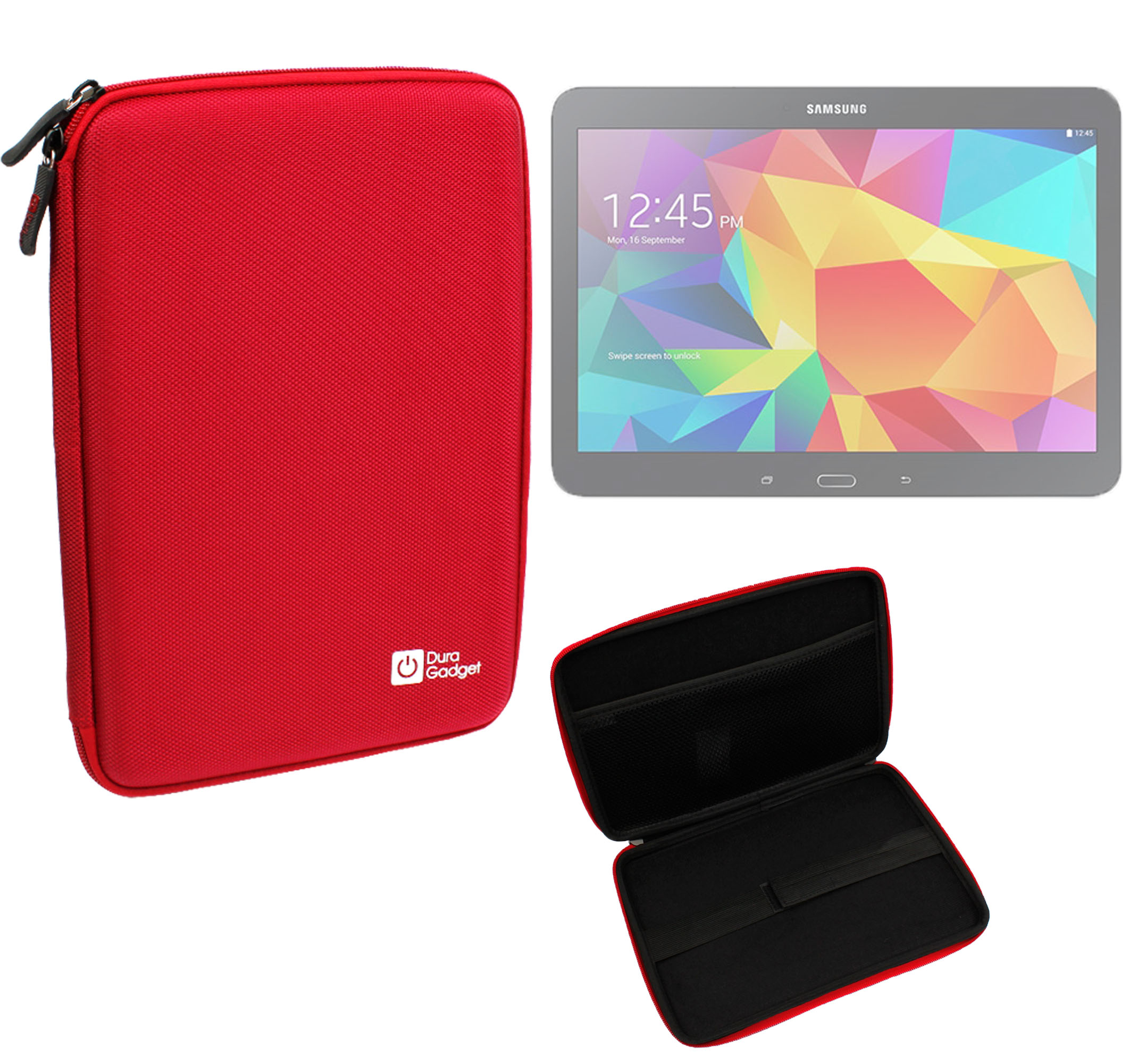 Etui coque rouge pour tablette samsung galaxy tab 4 10 1 for Housse tablette samsung